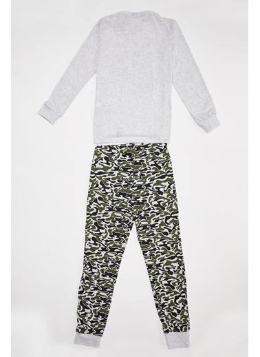 Defacto –Fit Erkek Çocuk Baskılı Pijama Takım Gri